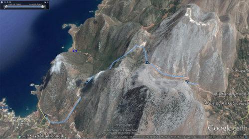 Маршрут трека по горам Кулуконас. Протяженность маршрута около 10км