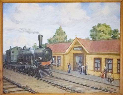 Прибытие поезда на станцию Сургут. Картина местного художника
