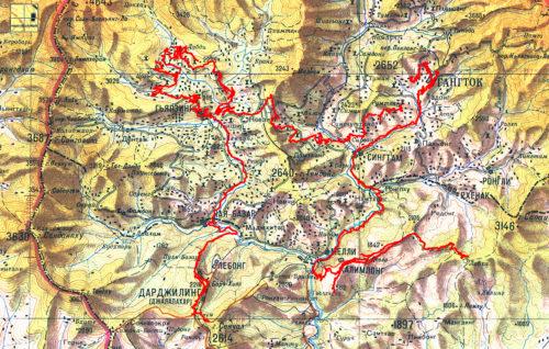 Карта нашего путешествия по Сиккиму