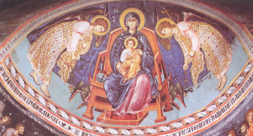 Богородица на троне, в окружении архангелов