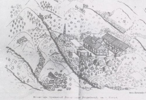 Церковь Богородицы Аракиотиссы (Панагия ту Арака) в восемнадцатом веке. Рисунок Григоровича-Барского.