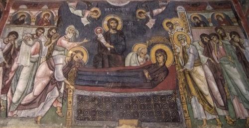 Успение Богородицы. Роспись начала 12 в.