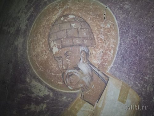 Феофан Грек. Свт. Спиридон Тримифунтский. В молодости святой был пастухом, поэтому он часто изображается в вязаной шапочке из овечьей шерсти