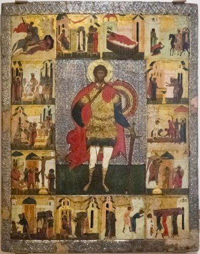 Храмовая икона. Святой воин Феодор Стратилат не очень известен на Руси. Один из его подвигов - поражение огненного змея (верхнее левое клеймо). Из собрания новгородского музея-заповедника
