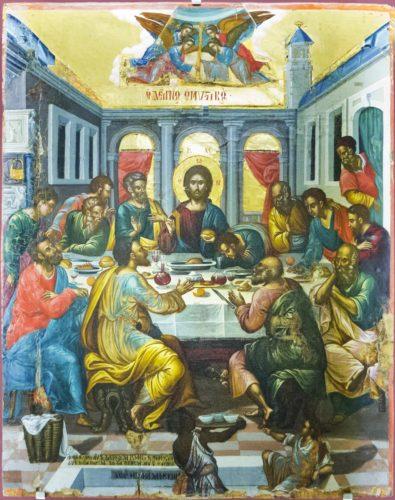 Тайная вечеря. Михаил Дамаскин. 1585-1591гг. Из собрания музея христианского искусства в Ираклионе