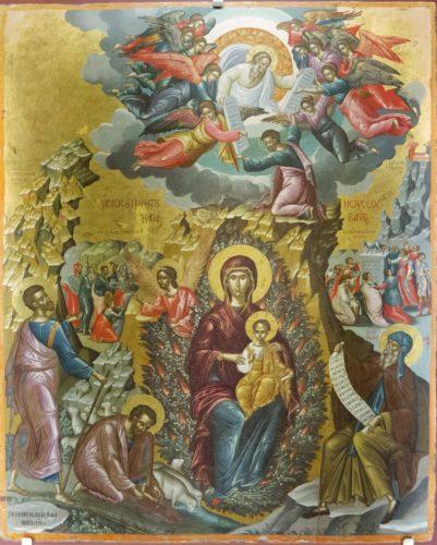 Видение неопалимой купины пророком Моисеем. Михаил Дамаскин. 1585-1591гг. Из собрания музея христианского искусства в Ираклионе