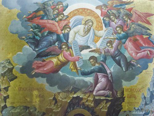 """Богородица """"Неопалимая купина"""". Фрагмент. Передача Моисею скрижалей Закона"""