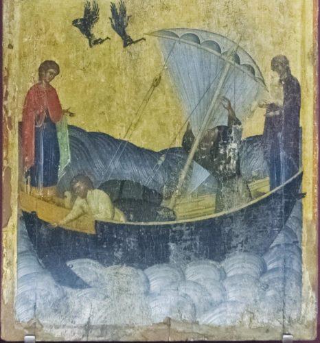 Чудо святого Фанурия. Нижняя часть двойной иконы. XV в. Работа Ангелоса Акотантоса. Из собрания музея христианского искусства в Ираклионе
