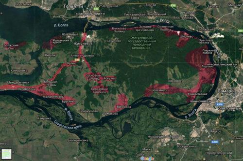 Карта Самарской Луки. Красным цветом помечены места наших походов
