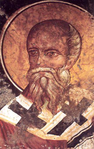 Св. Харалампий, епископ Магнесийский. Фреска церкви св. Феодора и Харалампия в Спили
