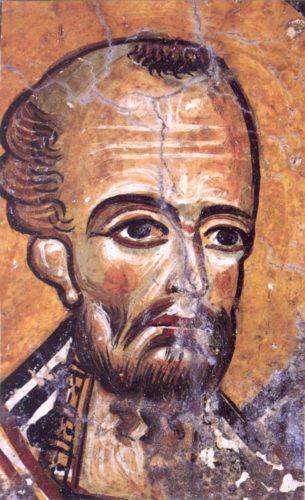 Святитель Иоанн Златоуст. Фреска церкви св. Георгия в Мурне