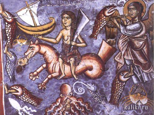 Море отдает своих мертвецов. Фрагмент фрески Страшного Суда. Фреска церкви св. Георгия в Мурне