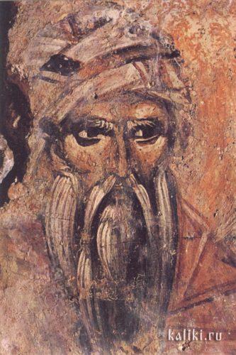 Св. Иоанн Дамаскин. Фреска церкви св. Иоанна Предтечи в деревне Аксос