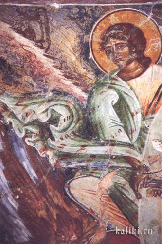 Ангел, несущий мандорлу Христа в сцене Вознесения. Фреска церкви св. Иоанна Предтечи в деревне Гарипас