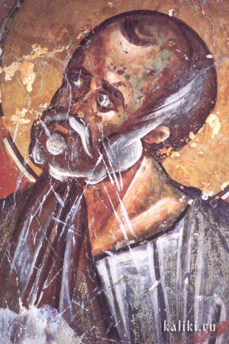 Пророк Иона. Фреска церкви св. Иоанна Предтечи в деревне Гарипас