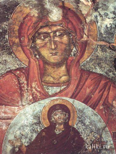 Святая Анна с Богородицей на груди. XIV век. Церковь Богородицы Панагии в Хромонастири