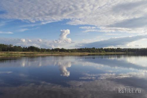 небо, облака, озеро, отражение