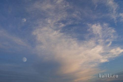 небо, облака, луна