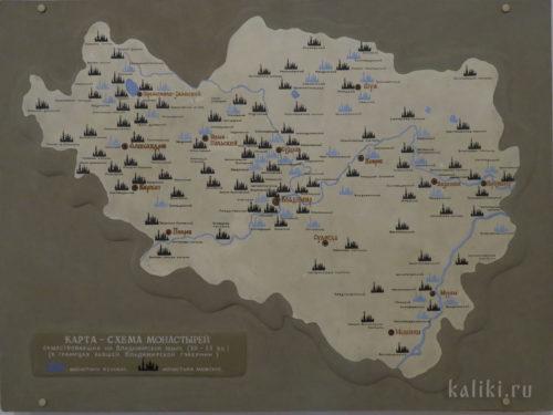 Карта-схема монастырей, существовавших на Владимирской земле (XII -XX вв.)