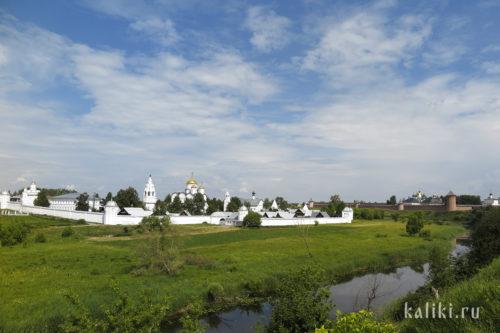 Вид на Свято-Покровский монастырь со стороны Александровского монастыря. Справа Спасо-Евфимиев монастырь